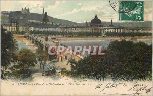 Old Postcard Lyon Bridge Guillotiere and the Hotel Dieu