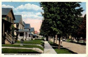 Salamanca, New York -  Tree lined Broad Street - in 1920