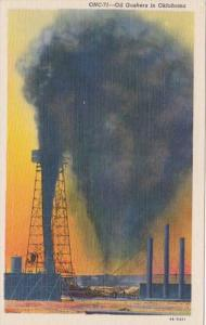 Oklahoma Typical Oil Gushers 1939 Curteich