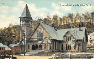 Berlin New Hampshire~Congregational Church~Nice Picket Fence~House Behind~1911