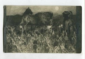 3127009 HORSES by VRUBEL vintage MODERNIST Style RUSSIAN