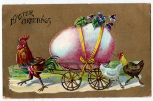 Easter - Chickens Pulling a Cart with a Big Egg