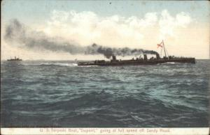 US Torpedo Boat Dupont Off Sandy Hook c1905 Postcard