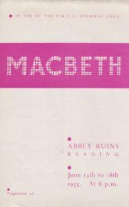 Reading YMCA Berkshire Shakespeare Play Macbeth Vintage Concert Programme