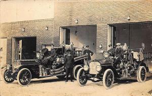 Lakeland FL 1920's Fire Trucks Department RPPC Postcard