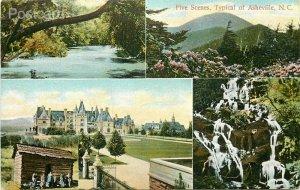 NC, Asheville, North Carolina, Five Scenes Multi View, International Post Card