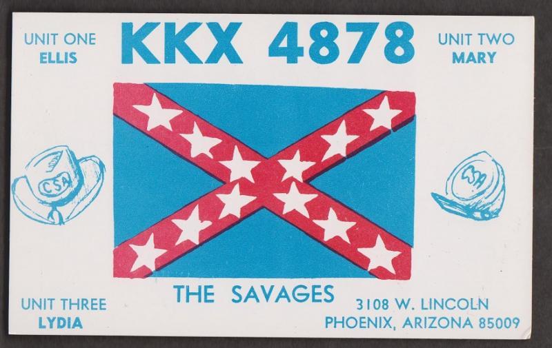 CB QSL Card - Flag - Ellis & Mary Savage Phoenix, Arizona