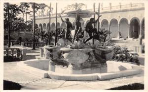 D45/ Sarasota Florida Fl Real Photo RPPC Postcard 40s Turtle and Shells Fountain