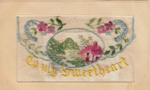 Hand Sewn, 1900-10s; To my Sweetheart, House scene, flowers, Insert