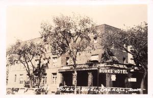Carroll Iowa~Burke Hotel~Meals~Bus Depot Sign~1930s Cars~Real Photo Postcard