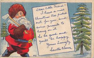 Christmas~Santa Claus in Brown Russian Hat~Ax For Tree~Letter To Child~c1908