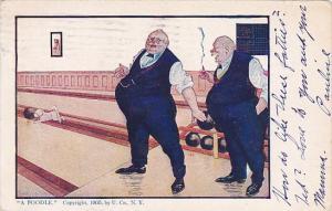 Bowling Humour Fat Men Bowling A Poodle 1908