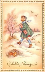 PostcarGelukkig Nieuwjaar, New Year, fantasy, lady dame gift, rabbit, bunny 1953