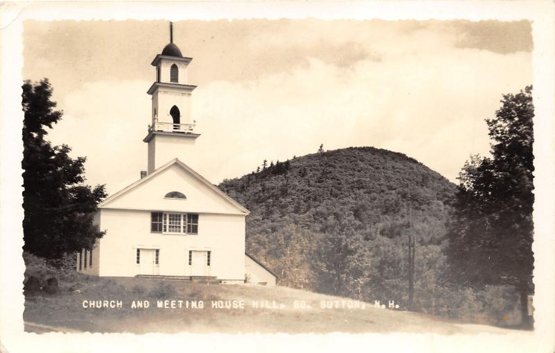 South Sutton New Hampshire~Church & Meeting House Hill~1938 Putnam Photo RPPC