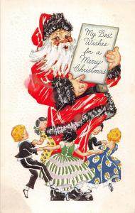D69/ Santa Claus Merry Christmas Holiday Postcard c1910 Kids Dancing Dress 16