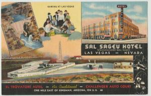 Kingman AZ Route 66  El Trovatore  HOTEL Las Vegas SALSEGEV NV 1946 Postcard