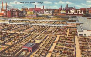 Chicago Illinois~Union Stock Yards Bird's Eye View~Swifts Ham & Bacon~1951 Pc