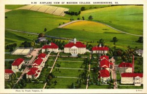 Virginia Harrisonburg Airplane View Of Madison College