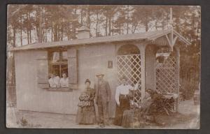 Family Outside House - German Or Swiss - Used 1907 - Corner Creases