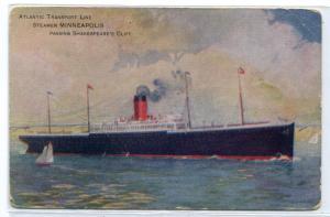 Steamer Minneapolis Passing Shakespeare's Cliff Atlantic Transport Line postcard