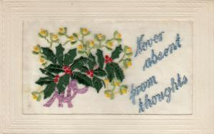 Hand Sewn, 1900-10s; Never absent from thoughts, bouquet of holly flowers