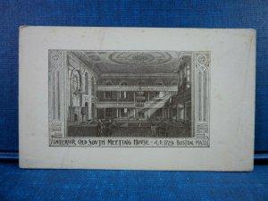 Circa 1900 Interior Old South Meeting House ~ A.D. 1729 Boston, Mass.