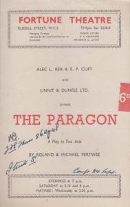 The Paragon Roland Drama of Jon Pertwee Doctor Who WW2 London Theatre Programme