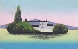 Hand-Painted, Two Story Building, Mountain Range Background, PU-1920