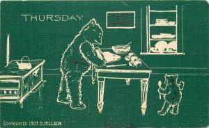 Arts Crafts Teddy Bears Thursday C-1910 Postcard Green Tint 2583