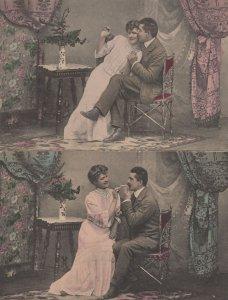 Lighting A Cigarette 2x Antique Smoking Romance Postcard s
