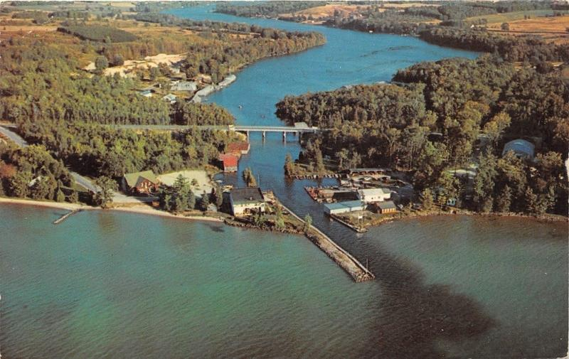 Torch Lake Michigan~Clam River Flowing into Torch Lake~Highway Bridge~Houses~'60