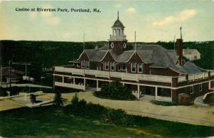 Portland, Maine, ME, Casino at Riverton Park, Antique Vintage Postcard e7836