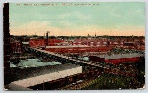 Manchester New Hampshire~Mills & Granite Street Bridge~Train in Foreground~1914