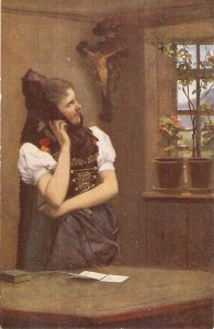 Lady praying. ImHerrgottswinkel Fine pàunting, vintage German postcard