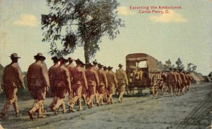 Escorting the Ambulance CAMP PERRY Ohio Military 1913 Vintage Postcard