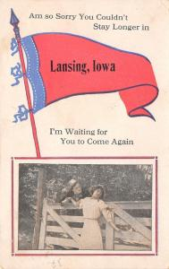 Waiting for You to Come Again to Lansing Iowa~Couple on Fence~1917 Pennant PC