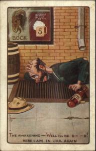 C. Ryan Comic - Drunk Thinks He's in Jail A-106 c1910 Postcard gfz