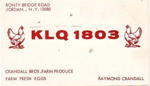 CB QSL - KLQ1803, Raymond Crandall, Jordan NY