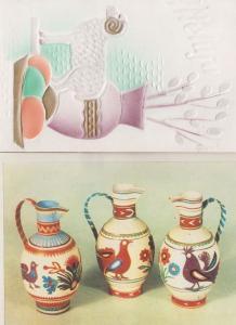 Vase & Sheep Porcelain Pottery Poland Polish 2x Postcard