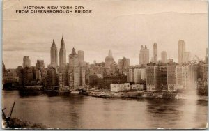 1937 New York City RPPC Real Photo Postcard Midtown from Queensborough Bridge