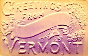 VT - Greetings from Vermont  (air brushed, embossed, crease)
