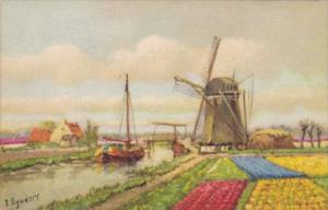 Netherlands Windmill Canal and Tulips