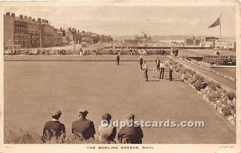Old Vintage Lawn Bowling Postcard Post Card The Bowling Greens, Rhyl Postal U...