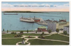 Harbor View Steamer Dock Mackinac Island Michigan linen postcard