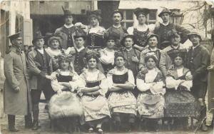 Germany 1911 Wildpark burlesque masquerade festivity costumes military RPPC