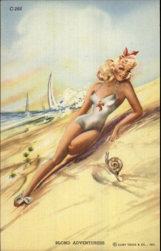 Curt Teich Bathing Beauty BLOND ADVENTURESS Linen Postcard EXC COND