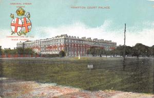 Vintage Postcard Hampton Court Palace London with Armorial Ensign #H