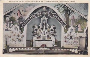 Massachusetts Fiskdale Interior Of Saint Annes Church Saint Annes Shrine 1928