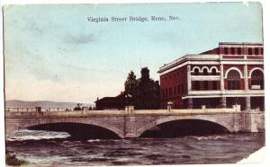 Early RENO Nevada Postcard Virginia St Bridge Building