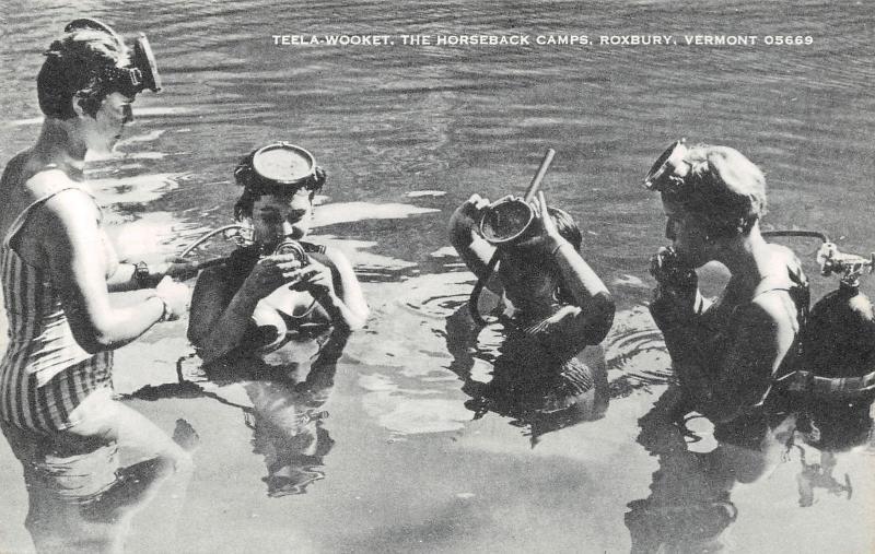 Roxbury VT Camp Teela-Wooket~Horseback Riding~Female Campers Snorkel 1940s B&W